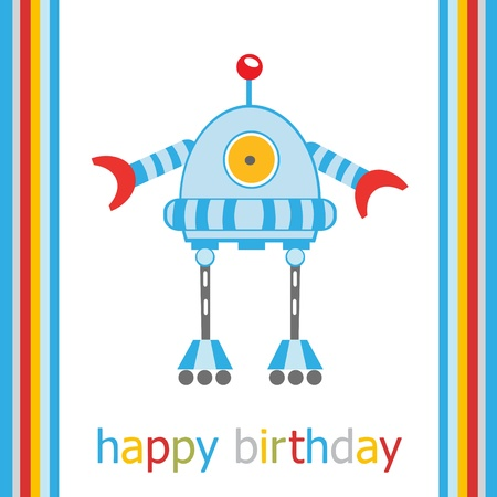 alien robot: Birthday card with robot  vector format