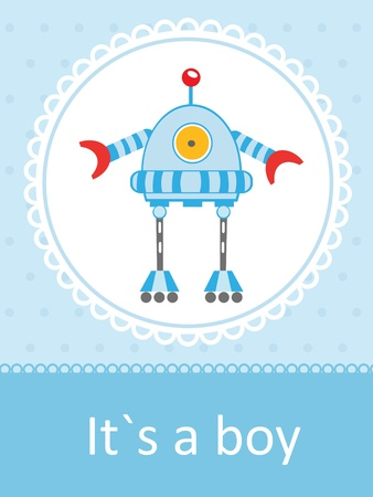 post card: Cute baby arrival card with funny little robot