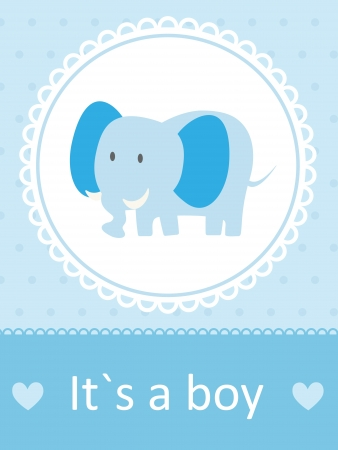 It s a boy baby arrival card with little baby elephant Stock Vector - 17710693