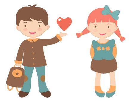 cute love: An illustration of kids in love Illustration