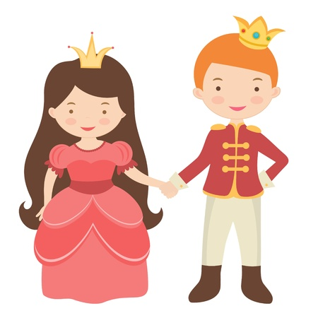 An illustration of Prince and princess holding hands Vector