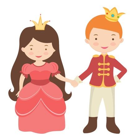 principe: Un esempio di principe e la principessa si tengono per mano Vettoriali