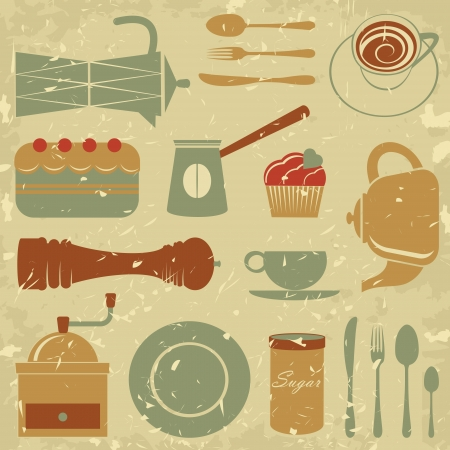 utensilios de cocina: Café de estilo retro set vector formato