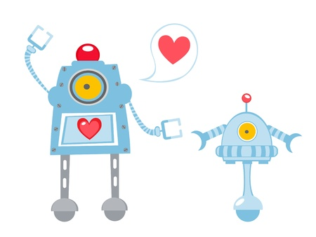 Cute illustration of robots in love