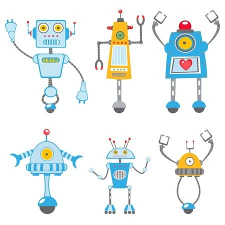 robot caricatura: Colecci�n colorido lindo de robots Vectores