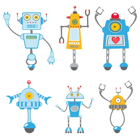 robot cartoon: Cute colorful  robots collection Illustration