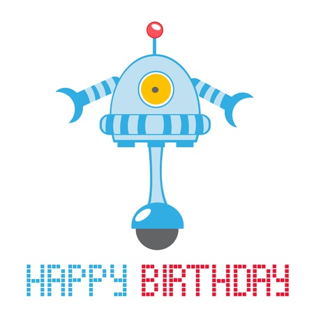 Happy birthday card with funny little robot Vector