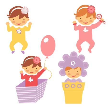 design design elemnt: Cute spring babies collection Illustration