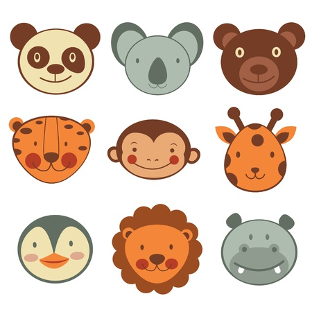 cartoon monkey: Animal head icons collection. Vector format