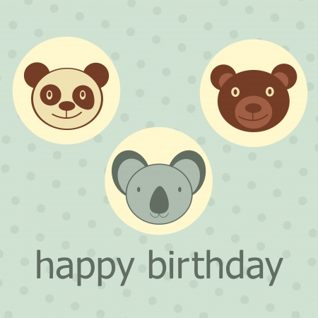 Animal faces happy birthday card. Vector format Vector