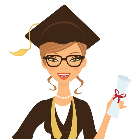 master degree: Illustration of a beautiful gradute woman smiling and holding certificate in her hand
