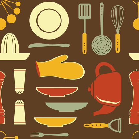 measuring spoon: retro style kitchen pattern  vector format Illustration