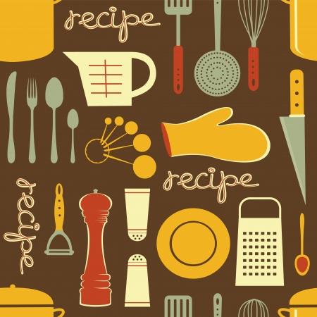 cucina antica: stile retr� cucina ricetta seamless pattern formato vettoriale