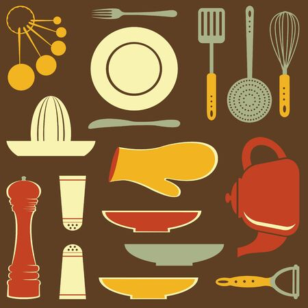 measuring spoon: vintage Kitchen collection  Vector format