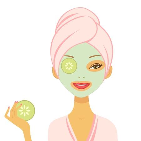 Jeune femme appliquant format vectoriel concombre masque
