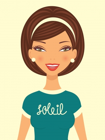 An illustratration of young beautiful woman smiling  Vector illustration Stock Vector - 17710722