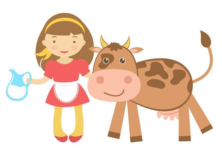 cartoon little girl: Illustration of Cute girl with cow