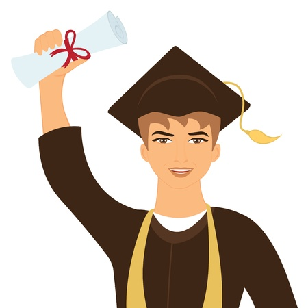 graduation gown: Illustration of happy graduate young man Illustration