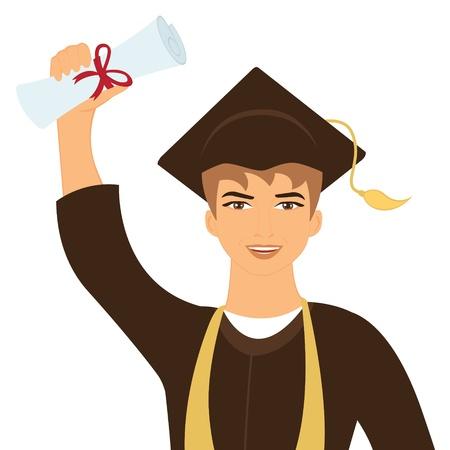 birrete de graduacion: Ilustración de la feliz joven graduado