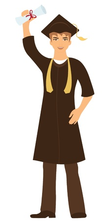 Illustration de Happy jeune homme diplômé