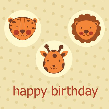 Jungle animals happy birthday card Vector format Stock Vector - 17710745