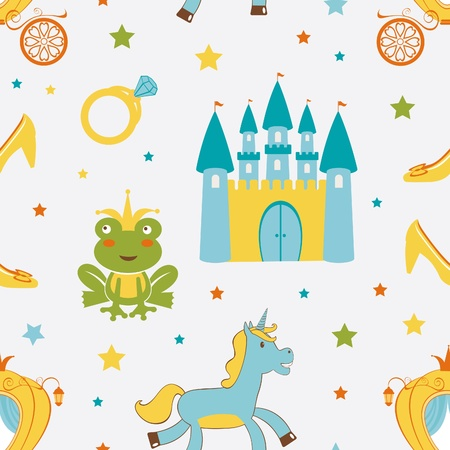 frog queen: Princess frog seamless pattern  Vector format