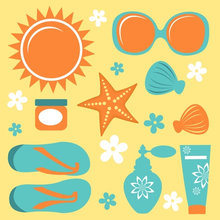 design design elemnt: Colorful collection of summer icons  vector format Illustration