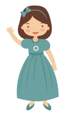 little girl dress: Illustration of 50-ies style little girl