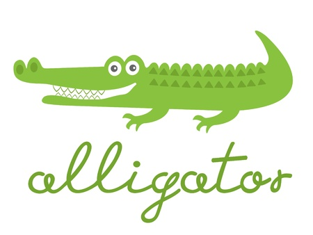 alligator: Illustration of cute alligator character