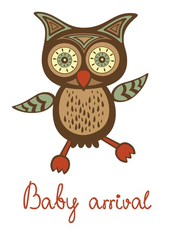 Cute baby owl. New baby arrival card Vector
