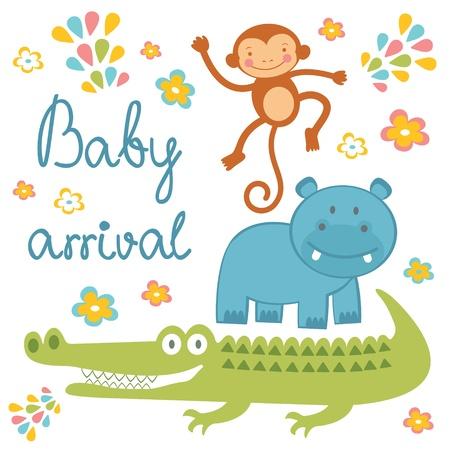 cocodrilo: Llegada del beb� anuncio de la tarjeta con los animales africanos Vectores