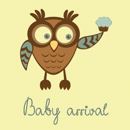 Cute baby boy arrival announcement card with owl holding cupcake Vector
