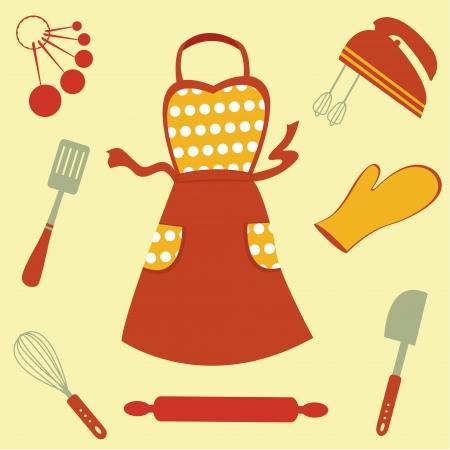 fartuch: Kolorowe pieczywo związanych zestaw ikon