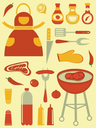 fish steak: Colorful barbecue related icons collection