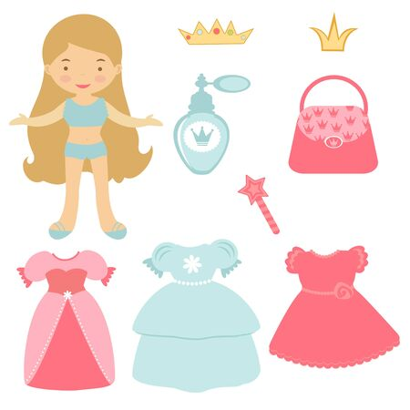 Illustration of Princess paper doll with various accessories