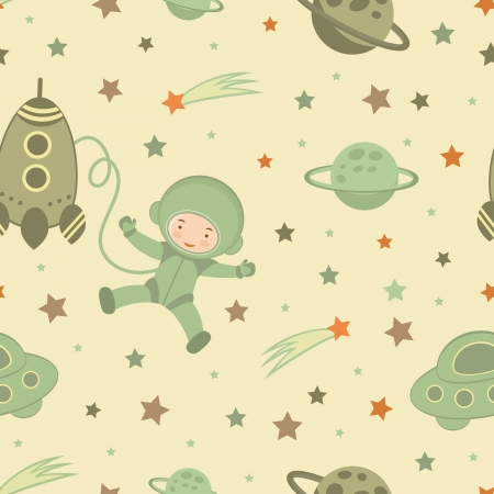 space suit: Astronaut in space seamless pattern