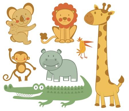 Colección linda colorida animales exóticos Ilustración de vector