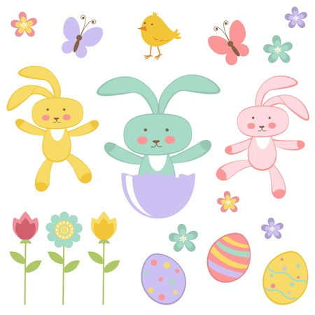 Cute Easter related elements collection Vector