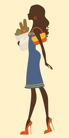 femininity: Illustration of Beautiful woman shopping fro groceries