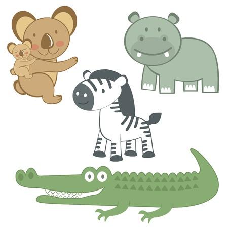 cartoon hippo: Cute Exotic animals set Illustration