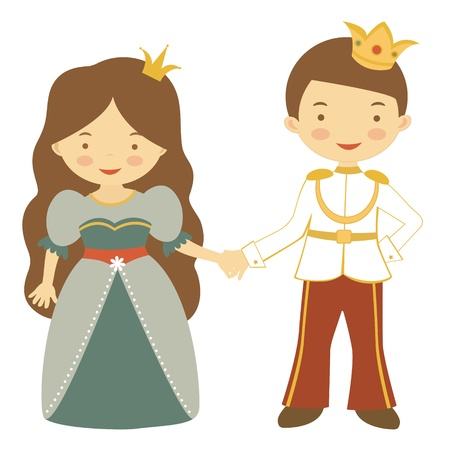 Illustration of fairy couple  Prince and princess holding hands Stock Vector - 18175933