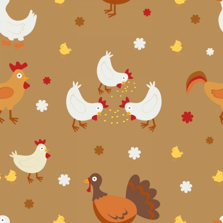 Colorful farm birds seamless background Vector