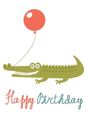 Cute Happy birthday card with alligator holding balloon Vector