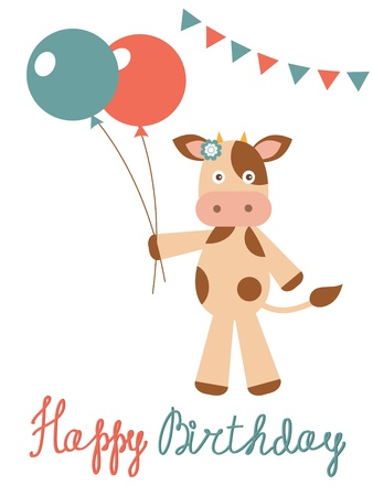 Happy birthday card with cow holding balloons Vector
