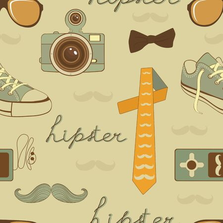 Hipster elements seamless pattern  Vector