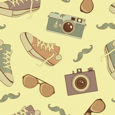 A colorful hipster icons seamless pattern Vector
