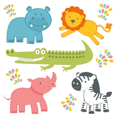 Cute jungle animals collection Vector
