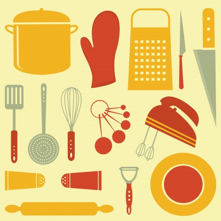kitchen ware: Colorful kitchen related elements composition