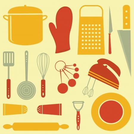 design design elemnt: Colorful kitchen related elements composition