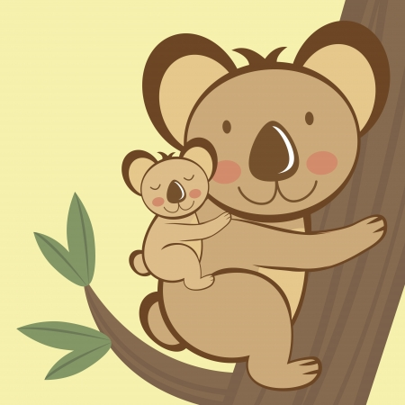 australia landscape: Illustration of cute koala sitting on a tree with a baby